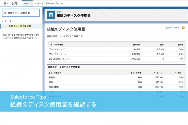 組織のディスク使用量を確認する
