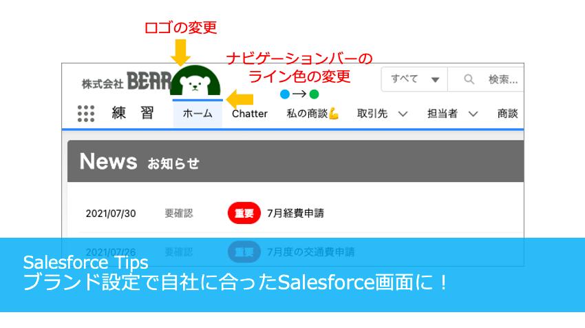 ブランド設定で自社に合ったSalesforce画面に!